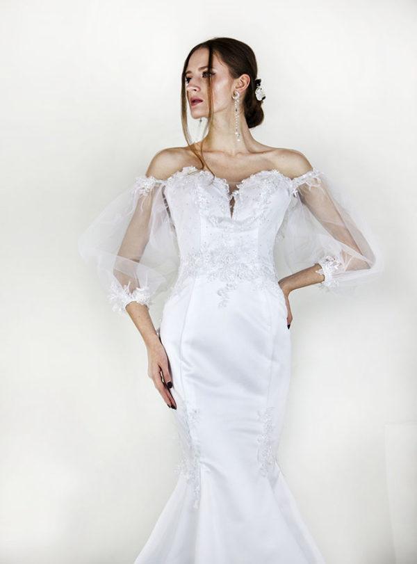 Robe de mariée sexy coupe sirène avec épaules dénudées