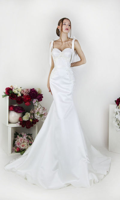 Robe de mariée coupe sirène en satin sexy