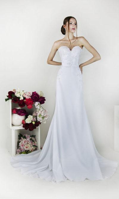 Robe de mariée épurée bohème chic bustier à Paris