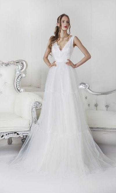 Robe de mariée à volants aérés