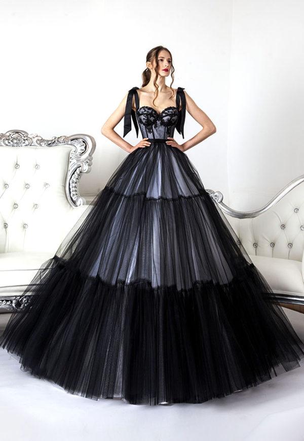 Robe de bal couleur noir et blanc