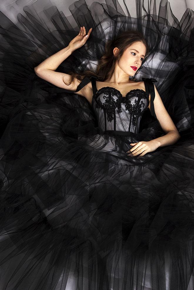 Robe de soirée couleur noire pour mariage