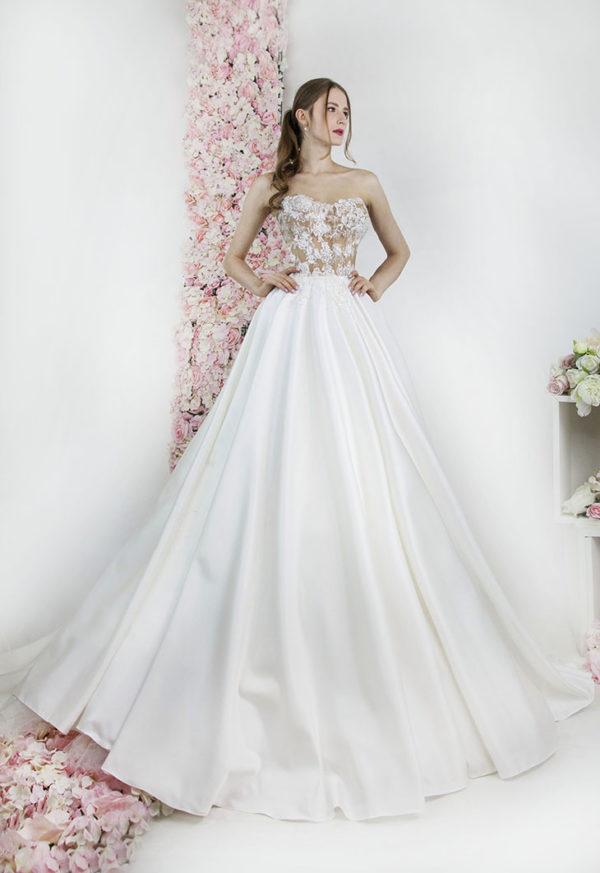 Robe de mariage avec jupe en satin et bustier couleur chair