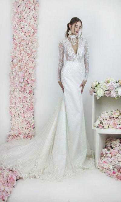Robe de mariée sirène transparente avec manches
