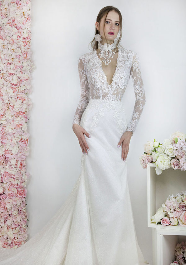 Robe de mariée sirène à paillettes