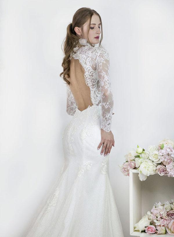 Robe de mariée sirène sexy avec dos nu