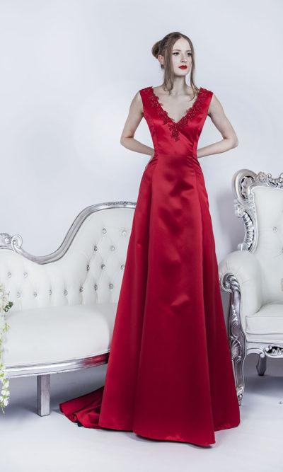 Robe de bal rouge trapèze