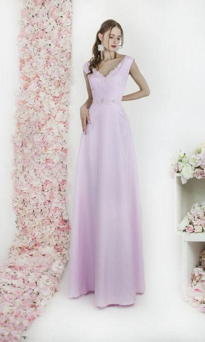 Robe de soirée trapèze rose clair pour mariage