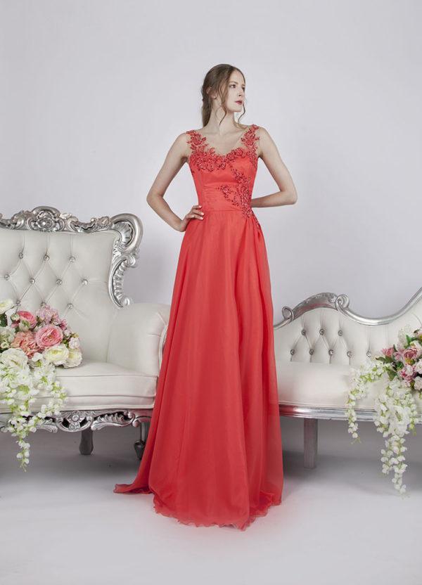 Belle robe de soirée corail avec bretelles