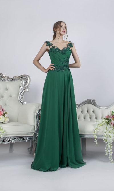 Robe de soirée vert émeraude avec drapée