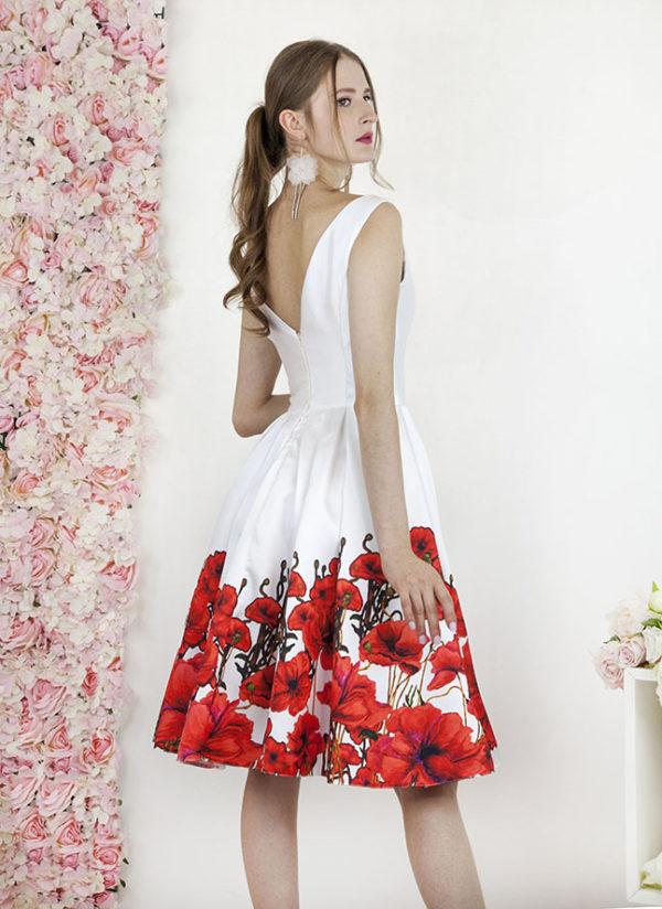 Robe de mariée civile à l'imprimée à fleurs