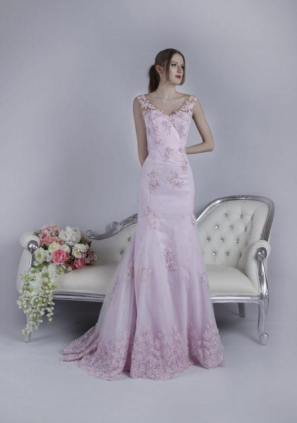 Robe de soirée sirène avec dentelle style princesse Paris