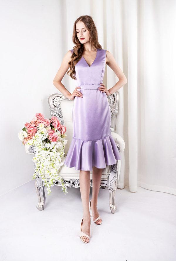 Robe de soirée courte pastel couleur lila