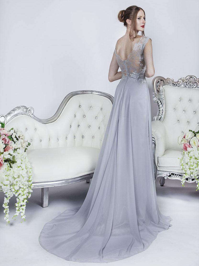 Robe de soirée gris mousseline pour mariage