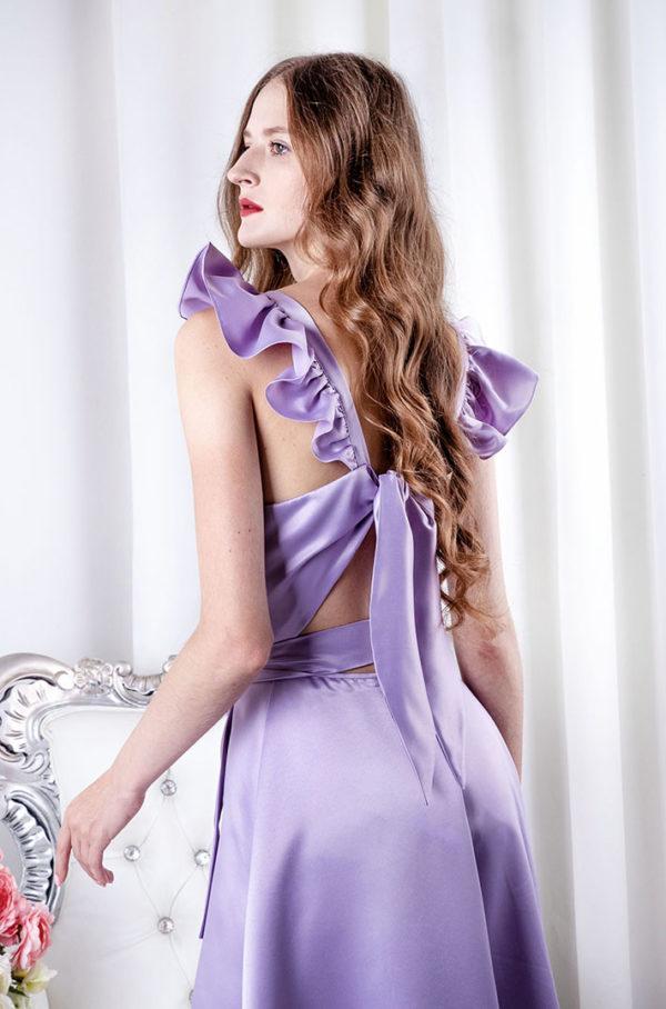 Robe pour mariage lila avec dos à noeud