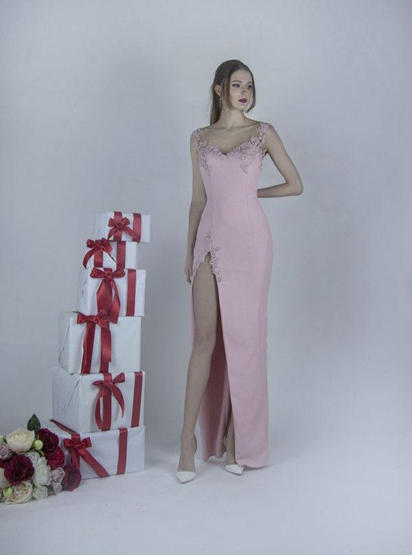 Robe de soirée rose pâle demoiselle d'honneur Paris