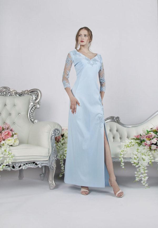 Robe de soirée pour mariage grande taille couleur bleu ciel