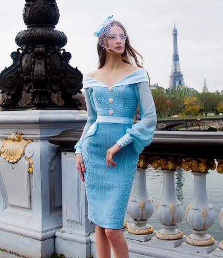 Robe de soirée courte bleu en tweed