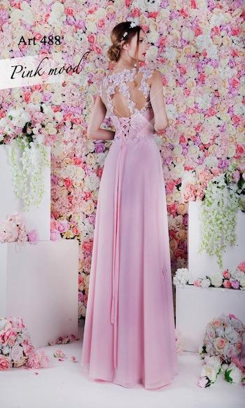 Robe de soirée rose en mousseline plissée