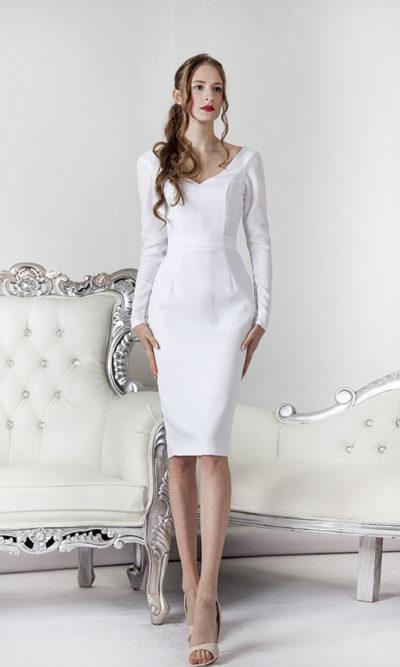 Robe de mariée courte manche longue