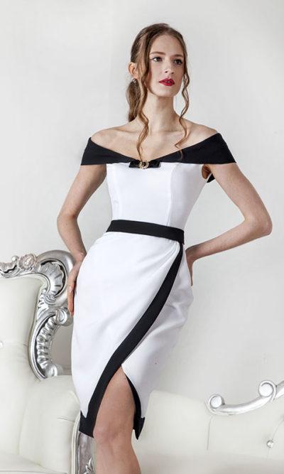 Robe de soirée courte bi-colore