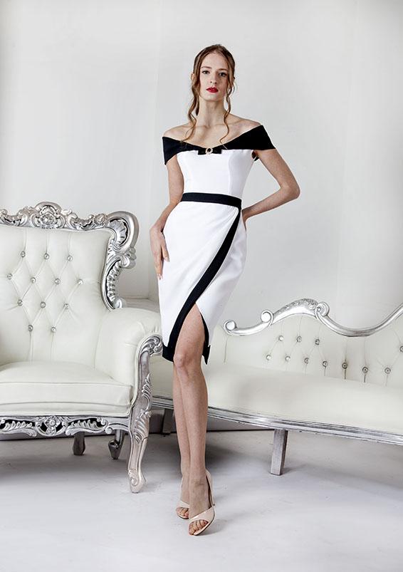 Robe de cérémonie blanc et noir
