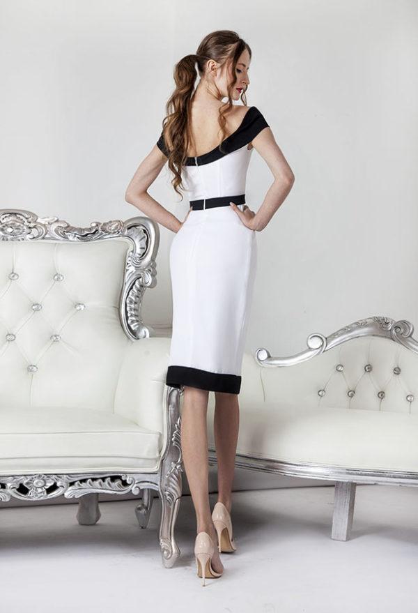 Robe de mariée courte couleur blanc et noir