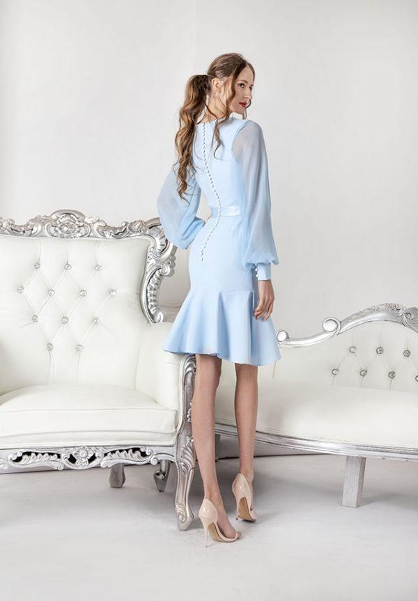 Robe de soirée bleu pastel pour mariage à la mairie