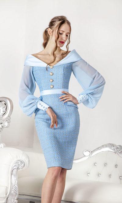 Robe habillée pour cérémonie couleur bleu ciel en tweed