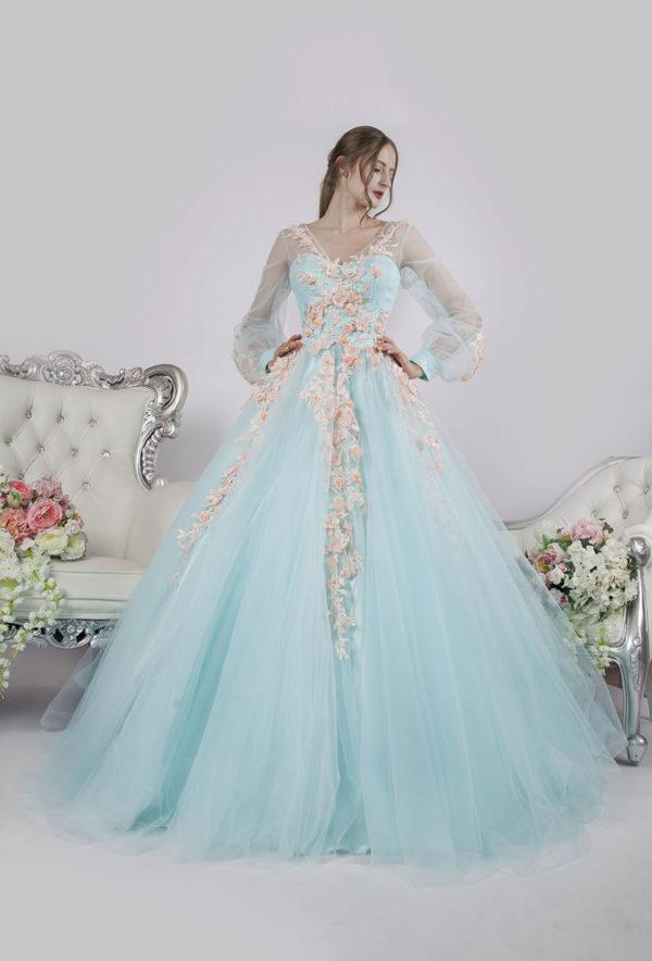Belle robe de soirée à cristaux avec manches