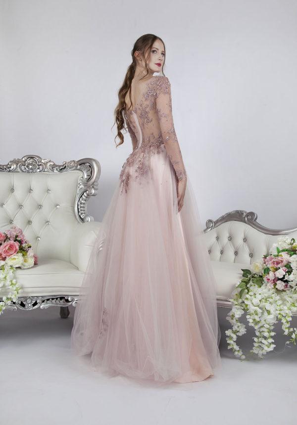 Belle robe de soirée avec manches longues