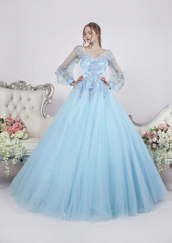 Robe de soirée princesse avec manches couleur bleu