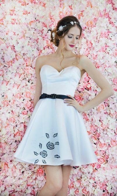 Robe de mariage civil et pour la soirée noir et blanc