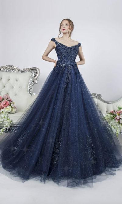 Robe pour fiançailles bleu nuit magique