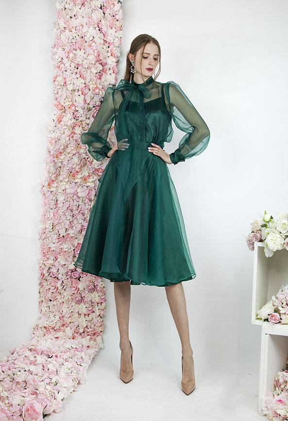 Robe de cérémonie en organza vert émeraude