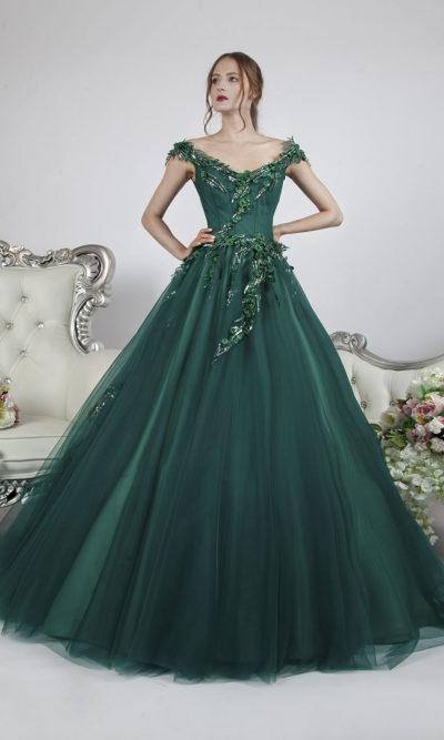 Robe de soirée verte avec bretelles tombantes et dentelle