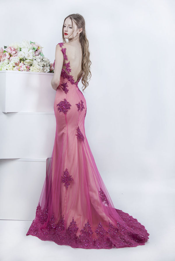Robe de soirée sirène rose avec dentelle