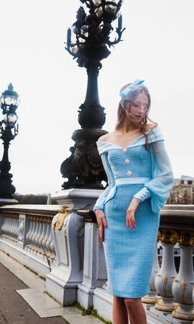 Robe en tweed Paris bleu et dorée