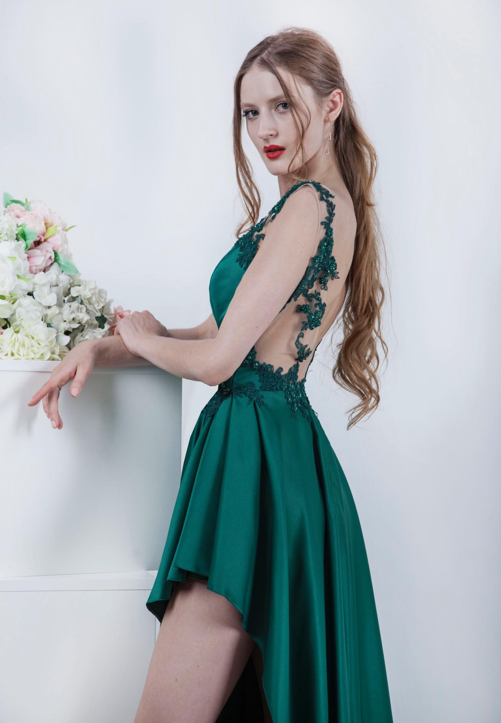 Robe de soirée à l'achat à paris de couleur verte