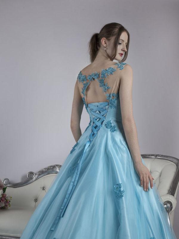 Robe de soirée pour gala en dentelle bleu