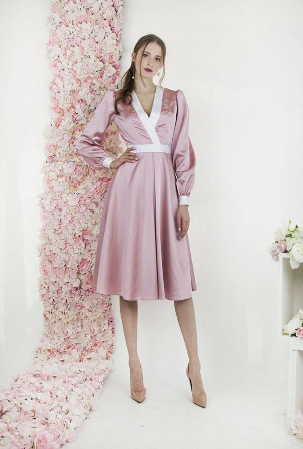 Robe de soirée pour mariage rose avec manches