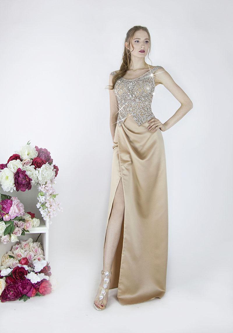 Robe de soirée avec jupe beige et fente