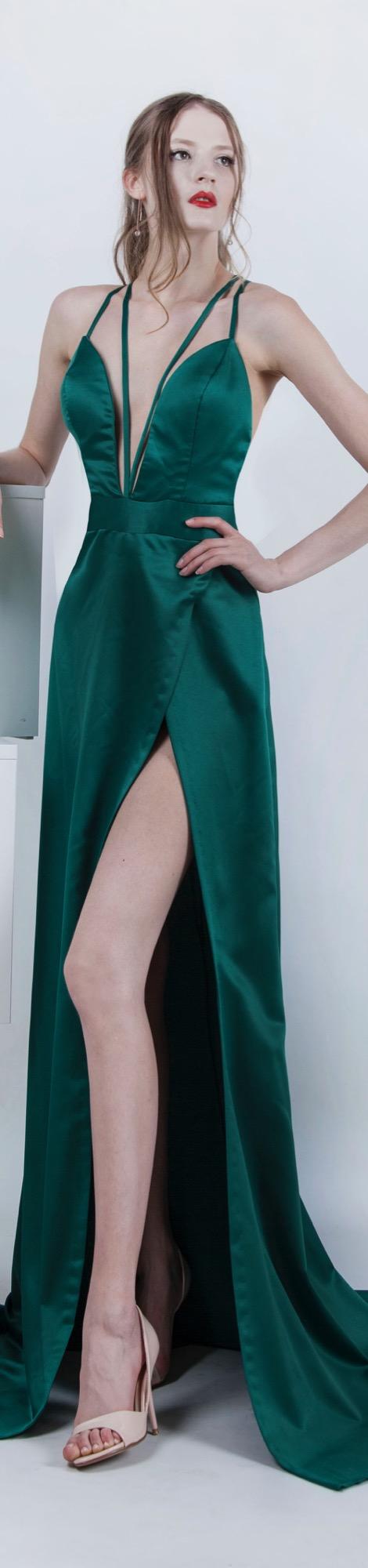 Robe de soirée verte d'une allure très sexy achat