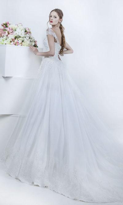 Robe de mariée évasée en tulle