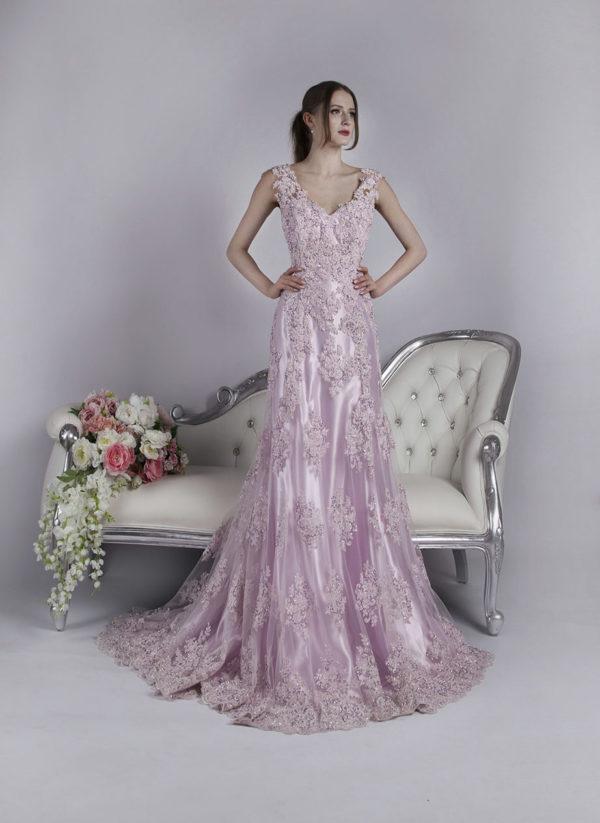 Robe pour cérémonie satin rose pour mariage