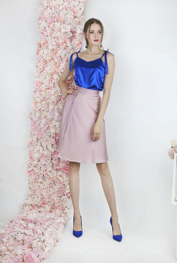 Robe de cocktail rose et bleu électrique