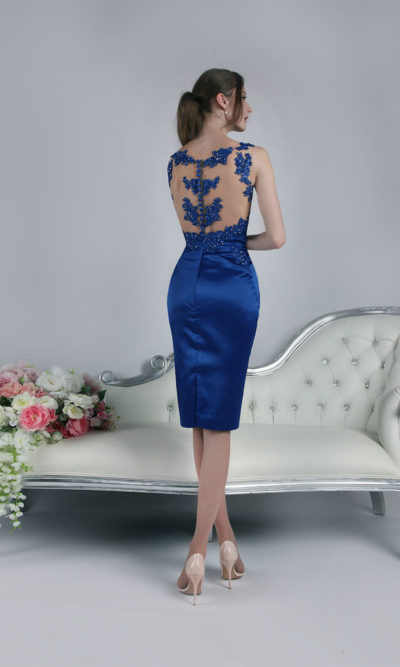 Robe de soirée avec dentelle bleu royale