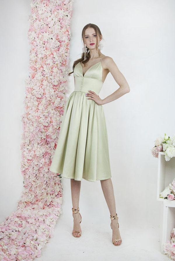 Robe de cocktail pour mariage couleur vert pastel