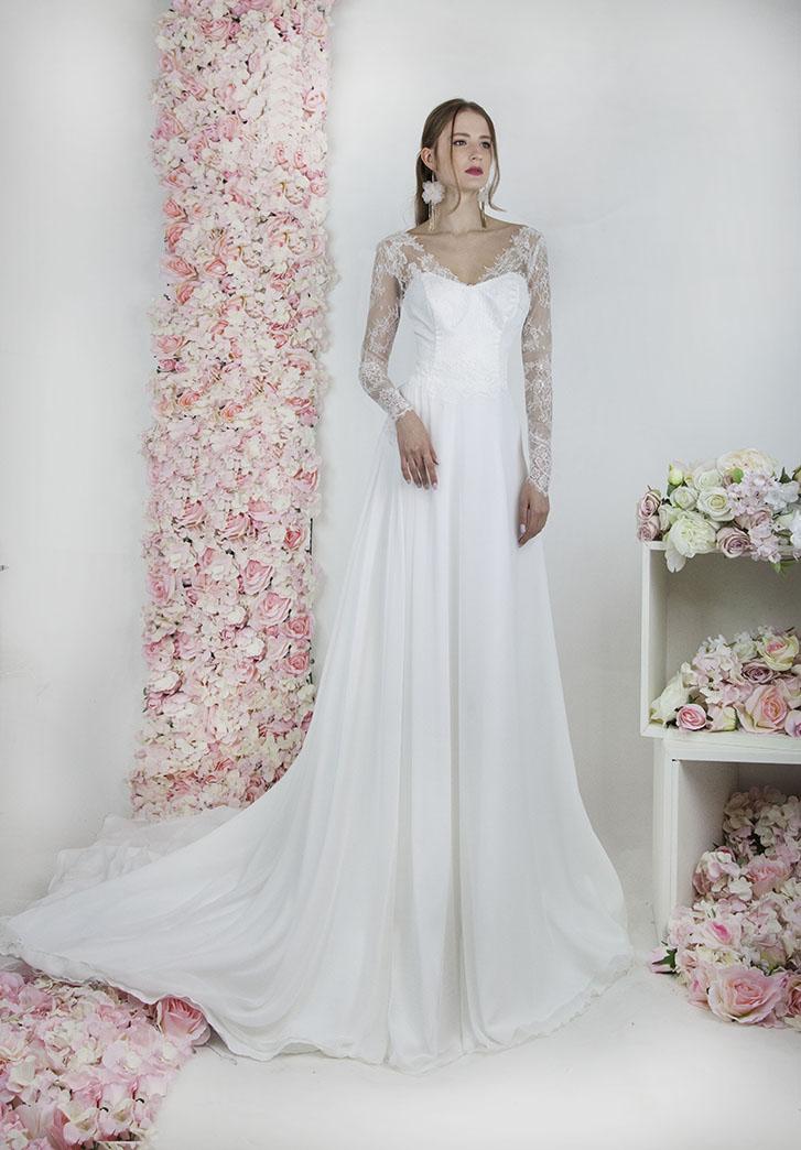 Robe de mariée luxueuse avec longues manches Paris