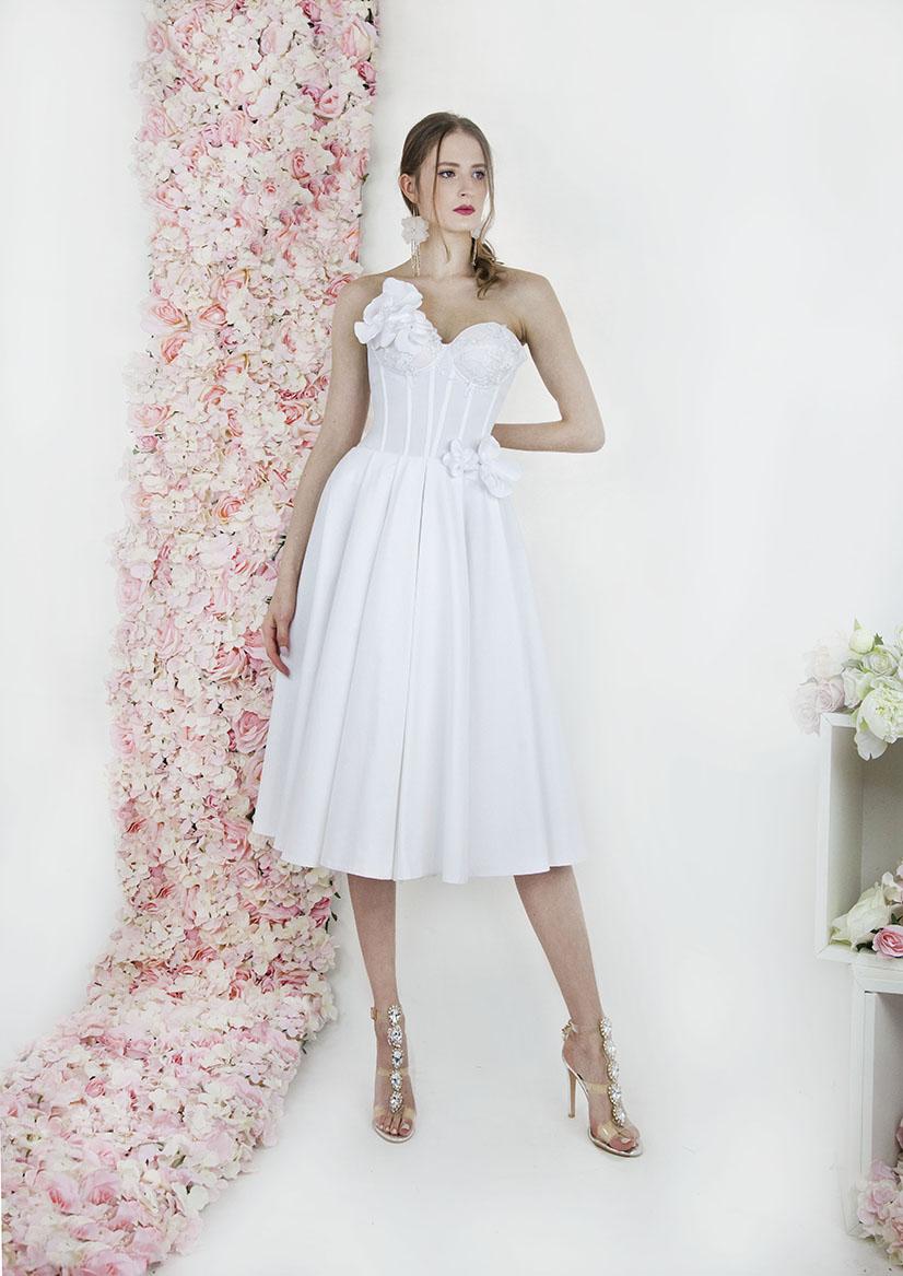 Robe de mariage civil courte avec jupe plissée